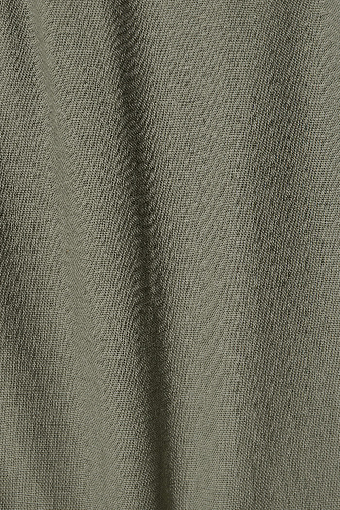 Van een linnenmix: bermuda met gevlochten ceintuur, DUSTY GREEN, detail image number 4