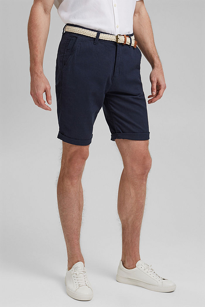 Linen blend: Bermudas with a woven belt