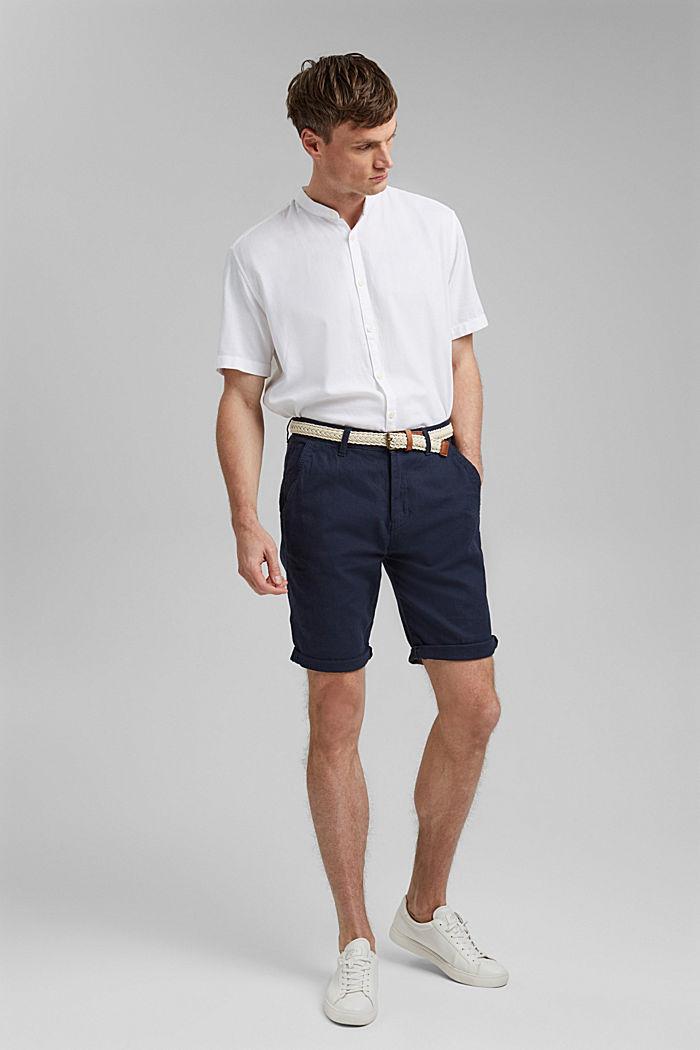 Linen blend: Bermudas with a woven belt, DARK BLUE, detail image number 6
