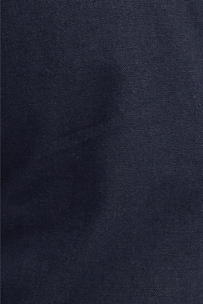 Linen blend: Bermudas with a woven belt, DARK BLUE, detail image number 4