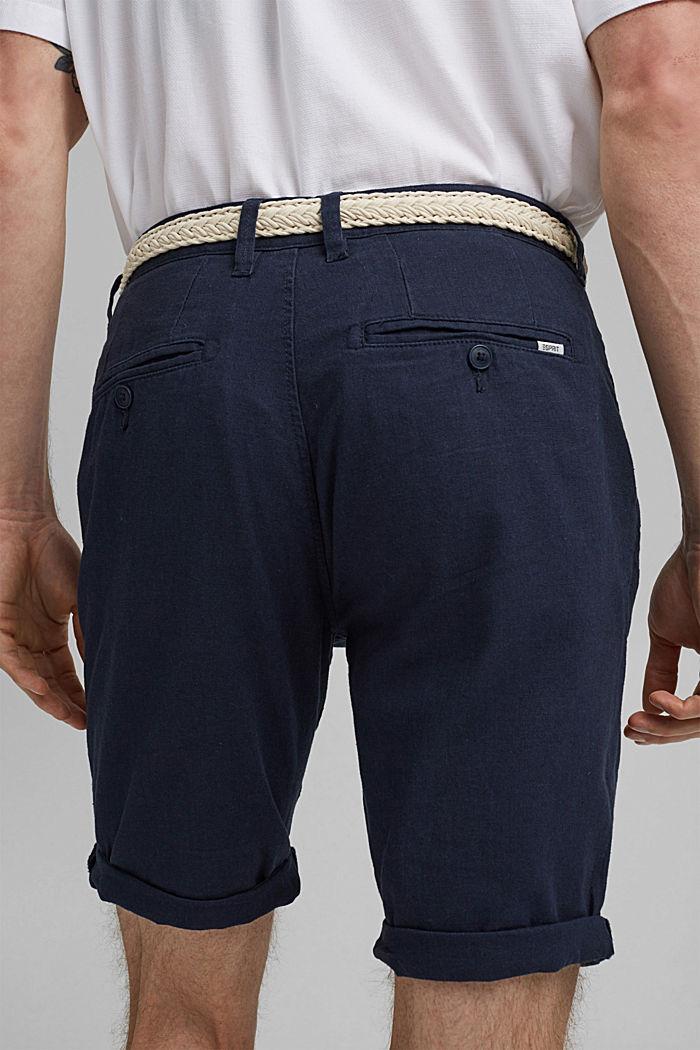Linen blend: Bermudas with a woven belt, DARK BLUE, detail image number 5