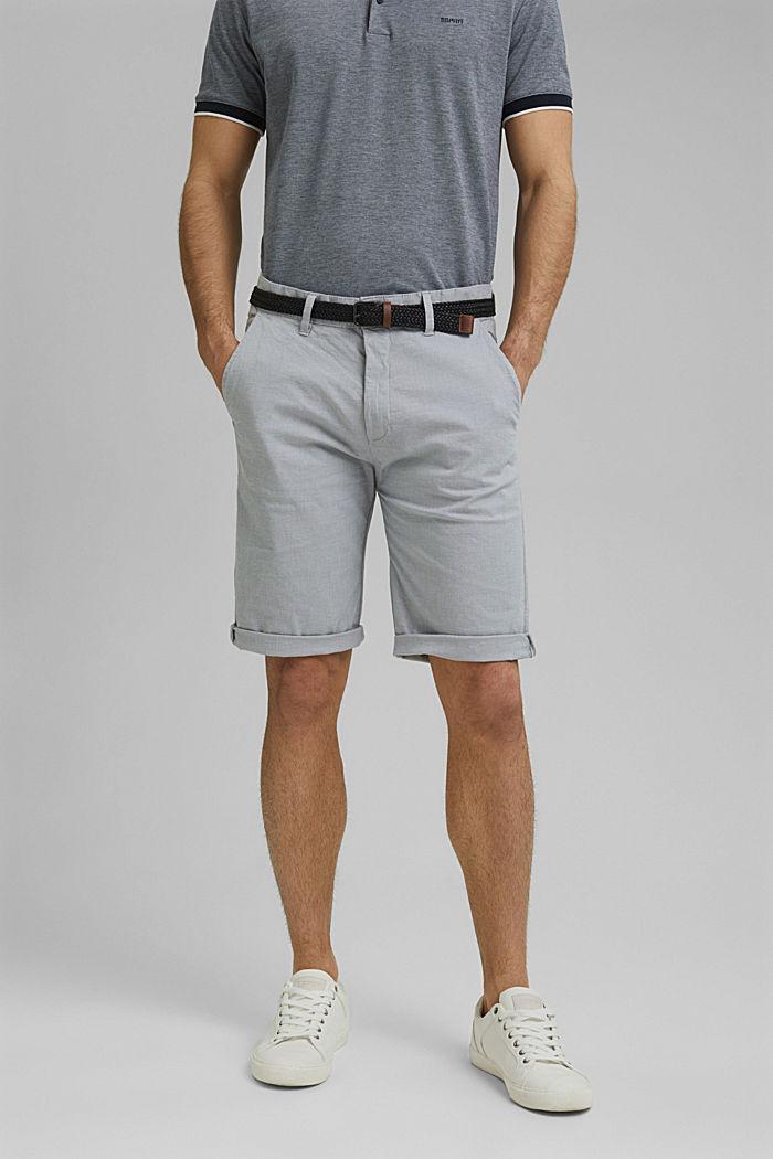 Pantalones cortos de algodón elástico con cinturón, GREY, detail image number 0