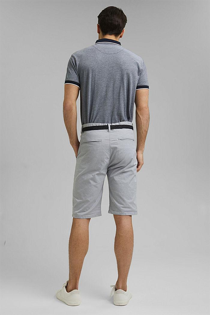 Pantalones cortos de algodón elástico con cinturón, GREY, detail image number 3