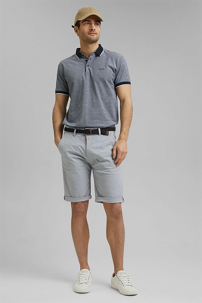 Pantalones cortos de algodón elástico con cinturón, GREY, detail image number 1