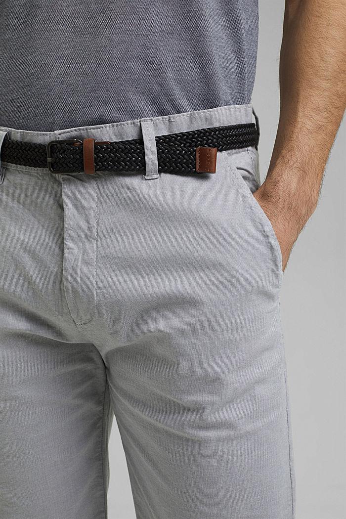 Pantalones cortos de algodón elástico con cinturón, GREY, detail image number 2