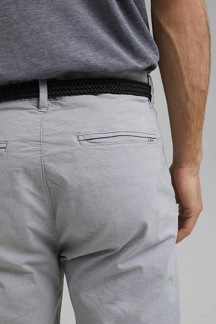 Pantalones cortos de algodón elástico con cinturón, GREY, detail image number 5