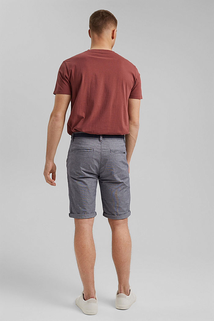 Cotton shorts with a belt, DARK BLUE, detail image number 3
