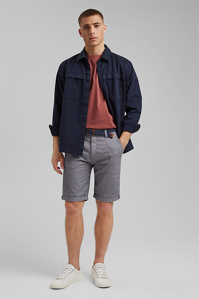 Cotton shorts with a belt, DARK BLUE, detail image number 1