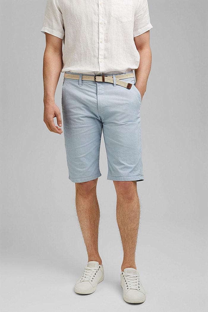 Baumwoll-Shorts mit Gürtel
