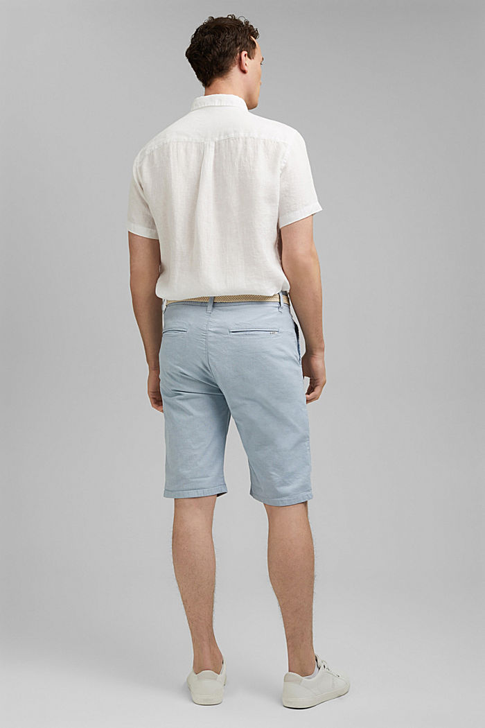 Baumwoll-Shorts mit Gürtel, LIGHT BLUE, detail image number 3