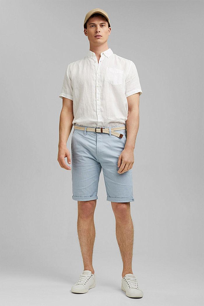 Baumwoll-Shorts mit Gürtel, LIGHT BLUE, detail image number 1