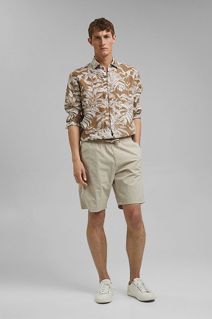 Chambray-Shorts aus Organic Cotton, BEIGE, detail image number 1