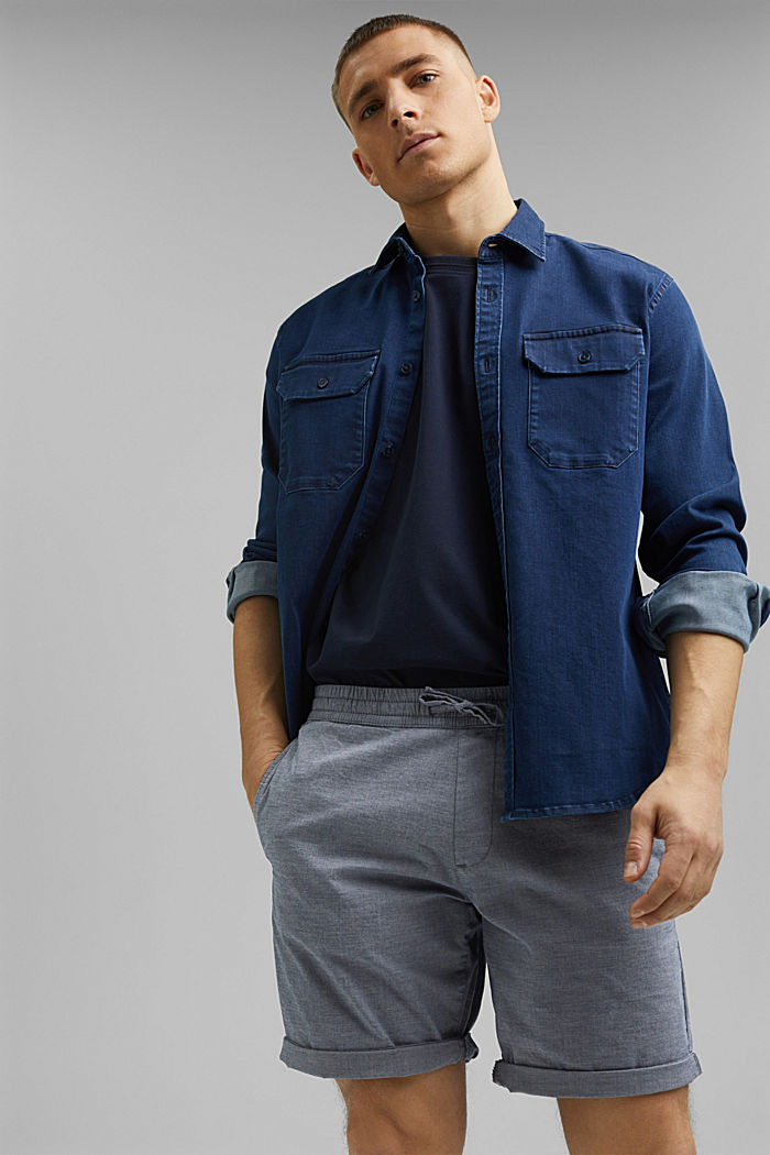 Chambray-Shorts aus Organic Cotton, DARK BLUE, detail image number 6