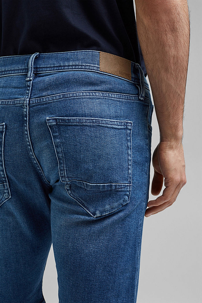 Short en jean à technologie COOLMAX®, coton bio, BLUE MEDIUM WASHED, detail image number 5