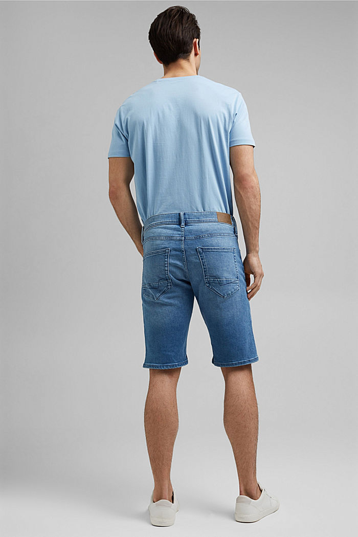 Jeans-Shorts mit COOLMAX®, Organic Cotton, BLUE LIGHT WASHED, detail image number 3