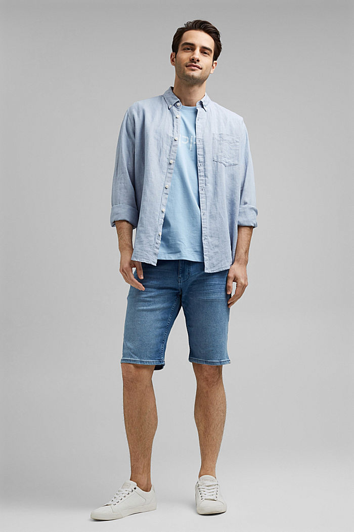 Jeans-Shorts mit COOLMAX®, Organic Cotton, BLUE LIGHT WASHED, detail image number 1