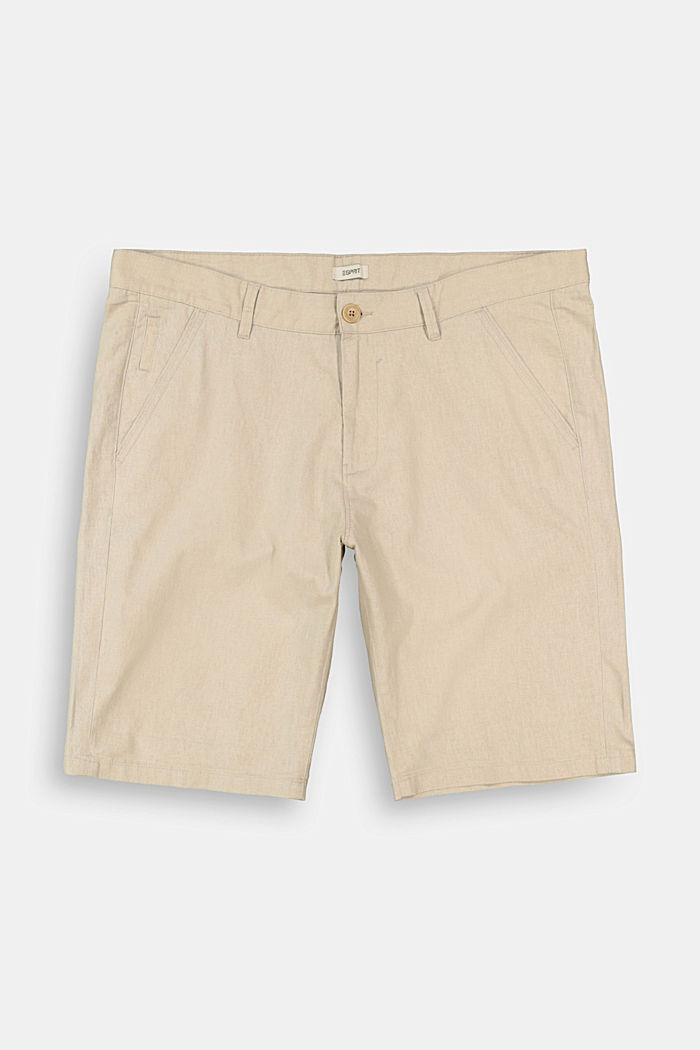 Linen blend: Bermuda shorts, LIGHT BEIGE, overview