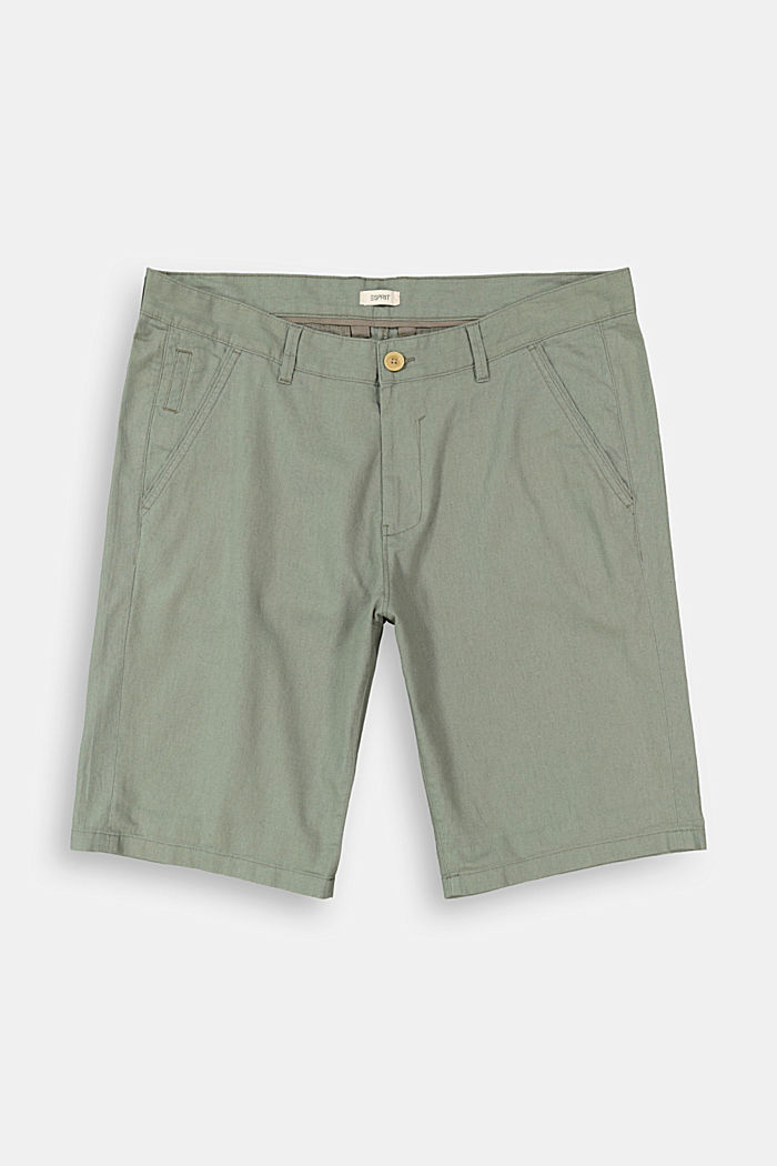 Linen blend: Bermuda shorts, DUSTY GREEN, detail image number 1