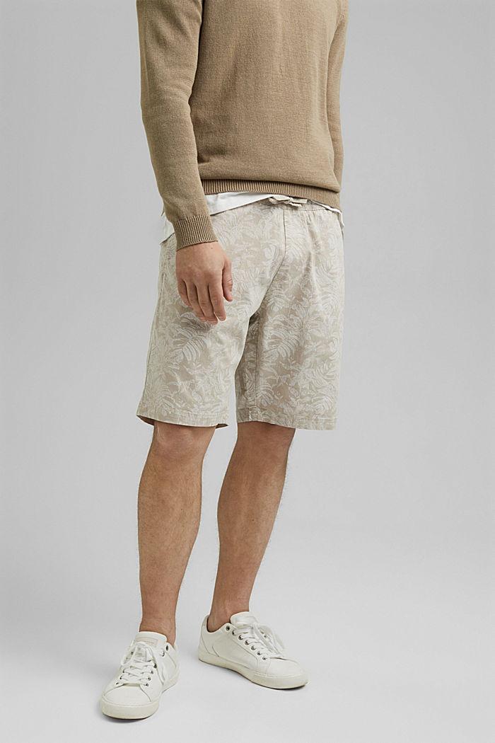 Shorts con estampado botánico, algodón ecológico, BEIGE, detail image number 0