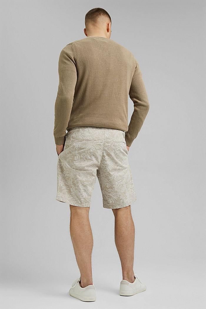 Shorts con estampado botánico, algodón ecológico, BEIGE, detail image number 3