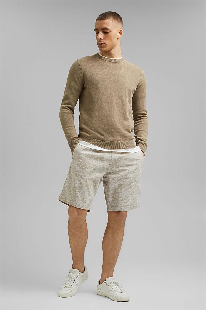 Shorts con estampado botánico, algodón ecológico, BEIGE, detail image number 1