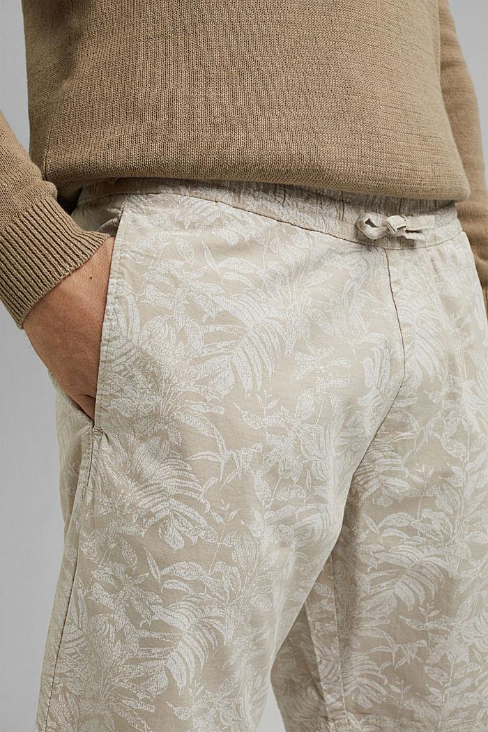 Shorts con estampado botánico, algodón ecológico, BEIGE, detail image number 2