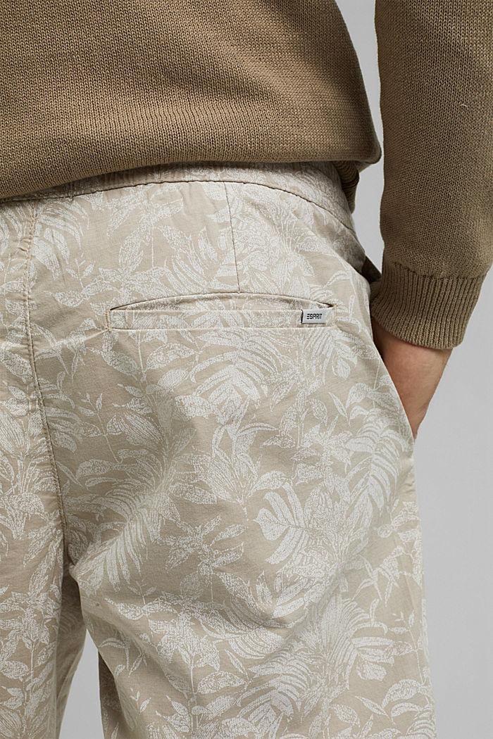 Shorts con estampado botánico, algodón ecológico, BEIGE, detail image number 5