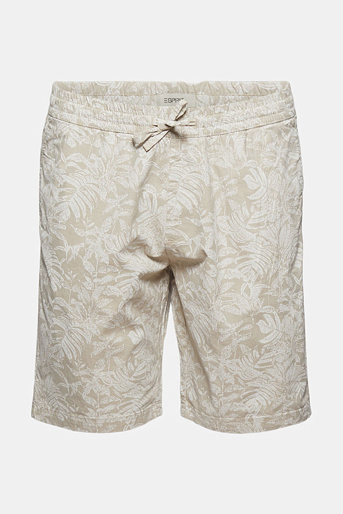 Shorts with botanical print, organic cotton
