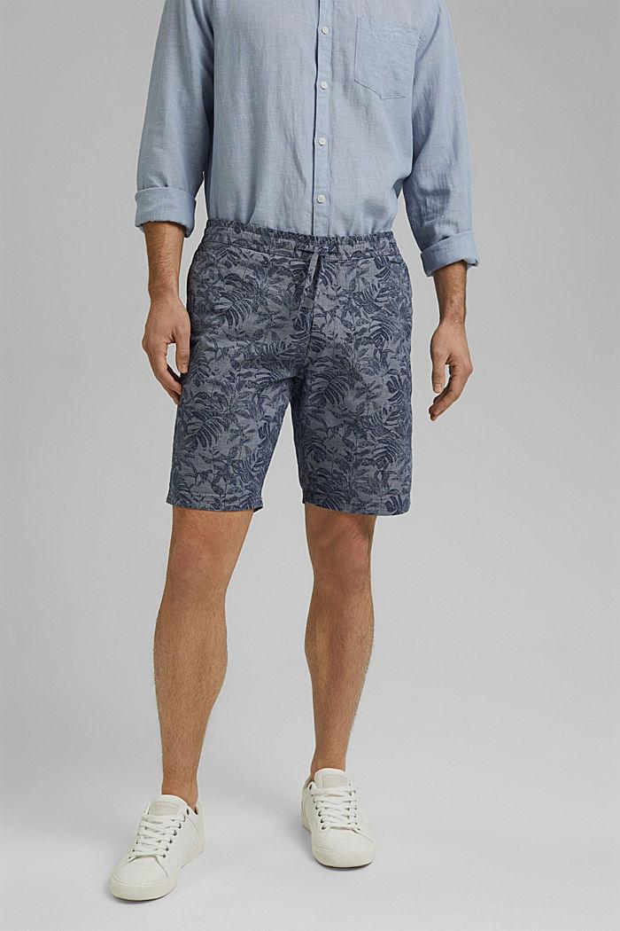 Shorts mit Botanik-Print, Organic Cotton, DARK BLUE, detail image number 0