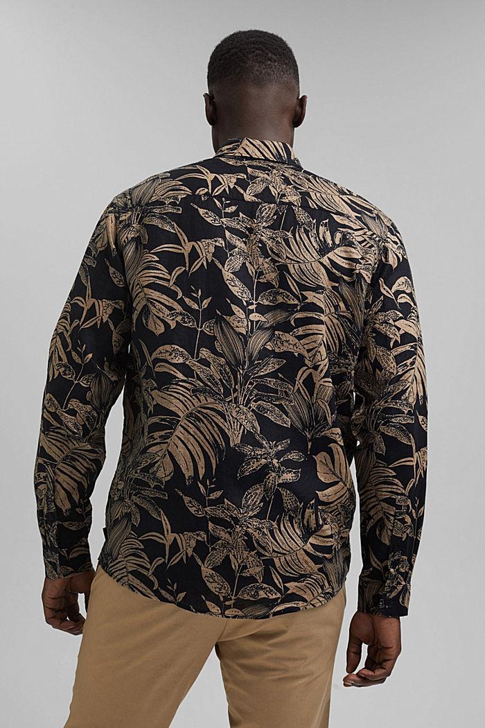 100% lin: Chemise haut de gamme à imprimé botanique, BLACK, detail image number 3