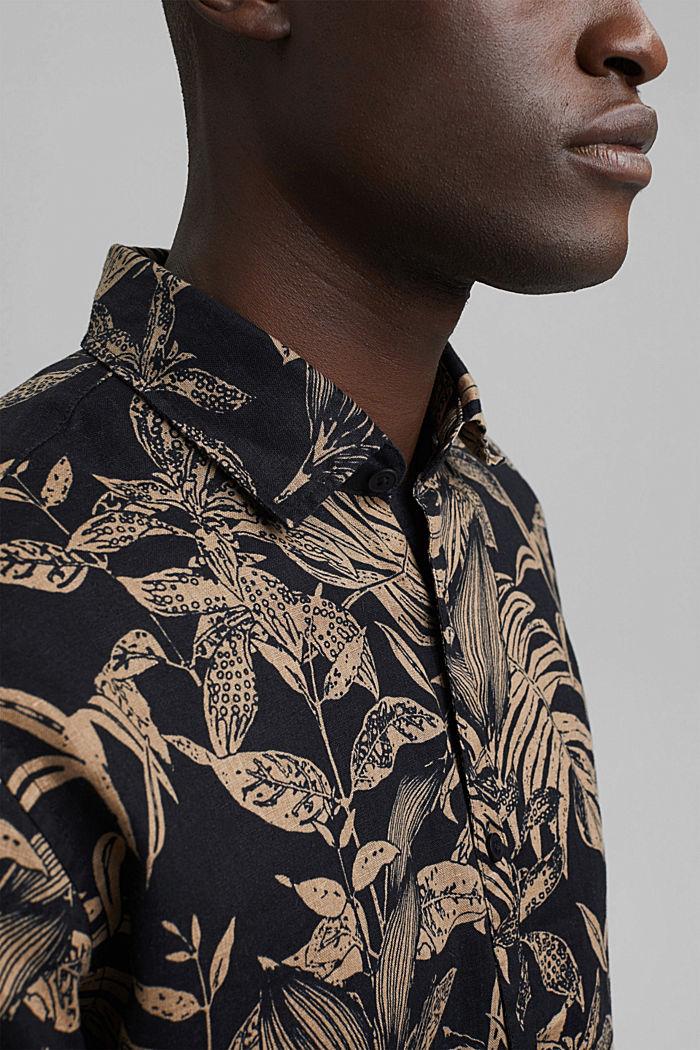 100% lin: Chemise haut de gamme à imprimé botanique, BLACK, detail image number 2