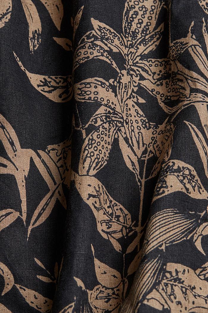 100% lin: Chemise haut de gamme à imprimé botanique, BLACK, detail image number 4