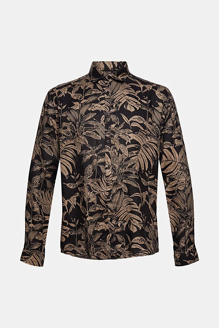 100% Leinen: Premium Hemd mit Botanik-Print