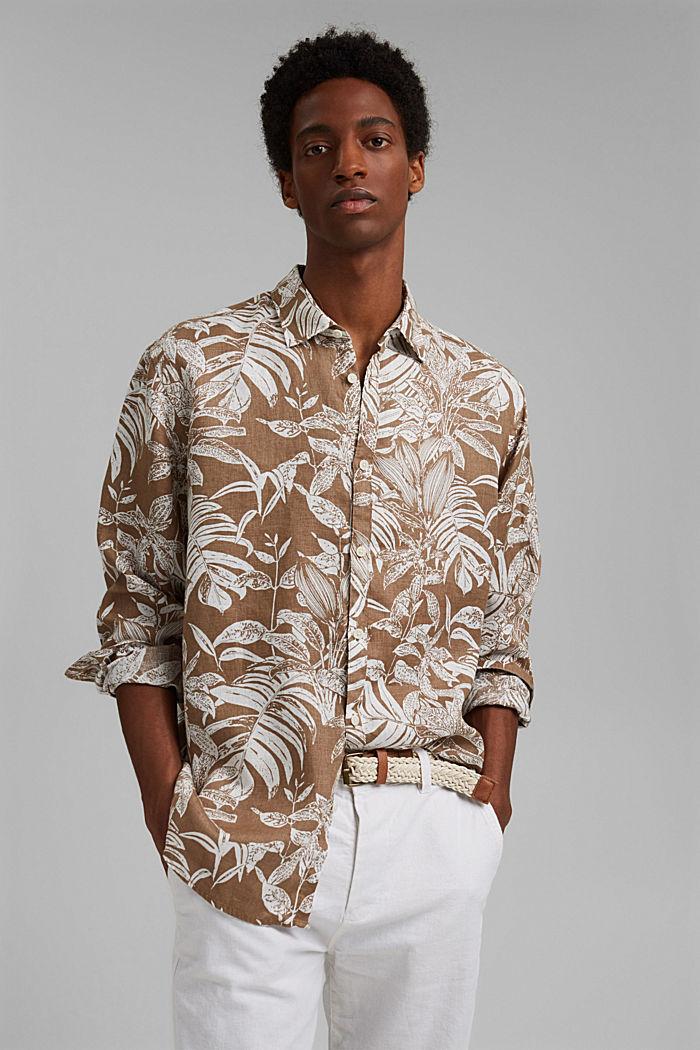 100% Leinen: Premium Hemd mit Botanik-Print, CAMEL, detail image number 0