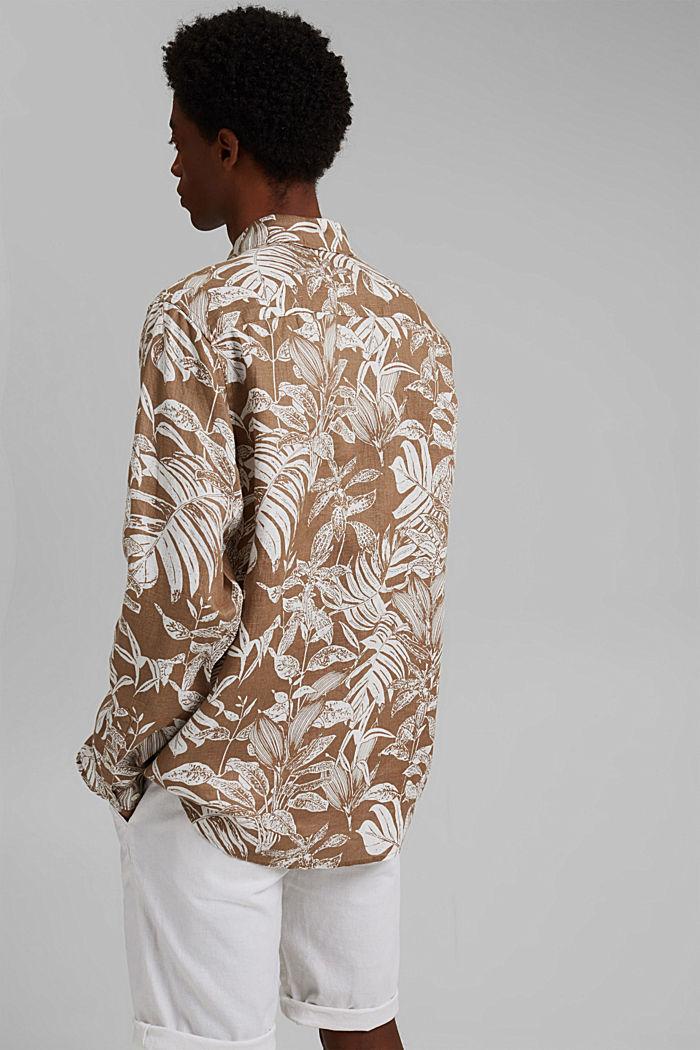 100% Leinen: Premium Hemd mit Botanik-Print, CAMEL, detail image number 3