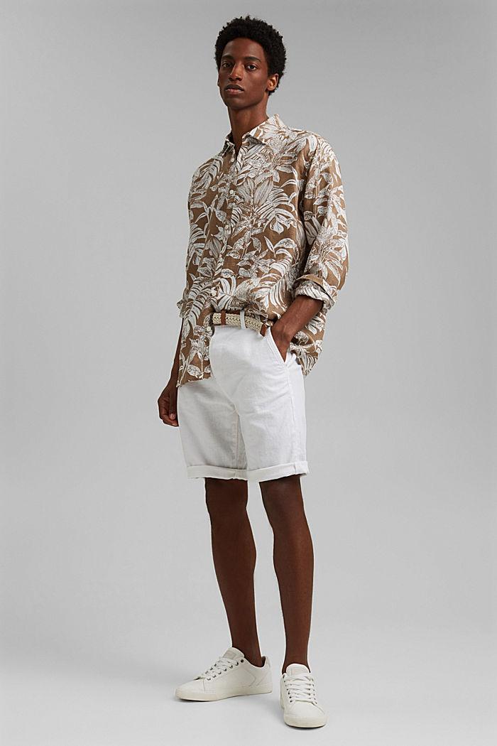100% Leinen: Premium Hemd mit Botanik-Print, CAMEL, detail image number 1