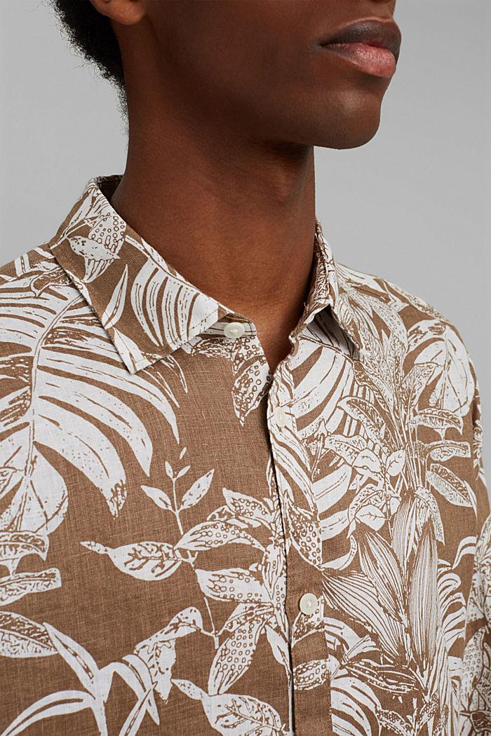 100% Leinen: Premium Hemd mit Botanik-Print, CAMEL, detail image number 2