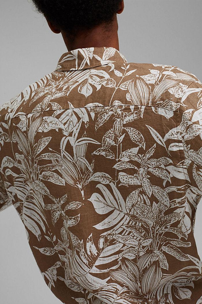 100% Leinen: Premium Hemd mit Botanik-Print, CAMEL, detail image number 5