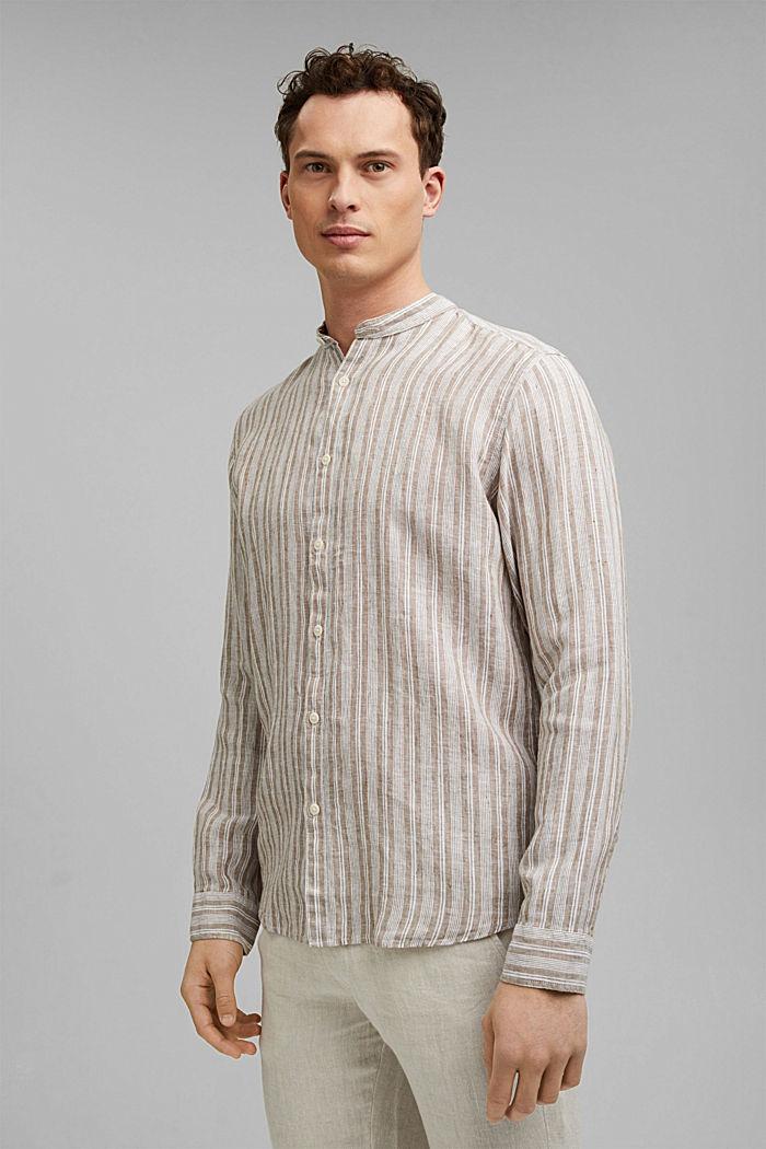 Aus Leinen: Streifen-Hemd mit Stegkragen, CAMEL, detail image number 0