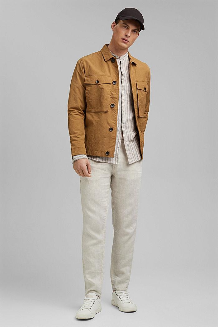 Aus Leinen: Streifen-Hemd mit Stegkragen, CAMEL, detail image number 1