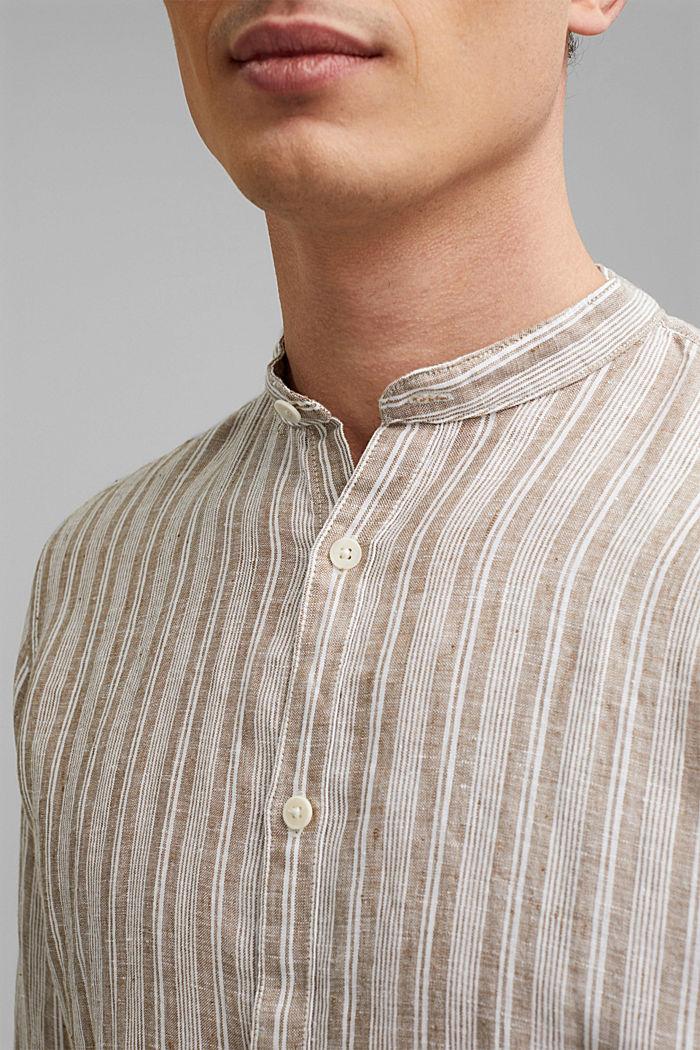 Aus Leinen: Streifen-Hemd mit Stegkragen, CAMEL, detail image number 2