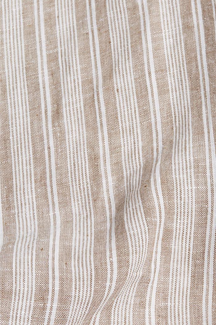 Aus Leinen: Streifen-Hemd mit Stegkragen, CAMEL, detail image number 4