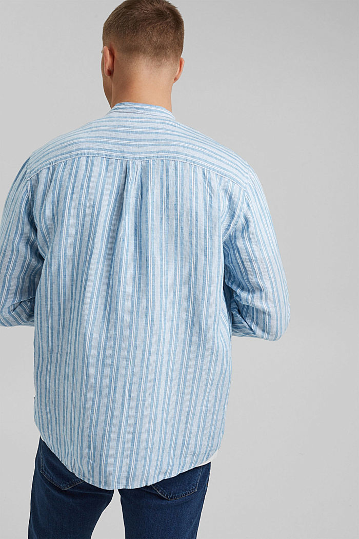 In lino: camicia a righe con collo a listino, PETROL BLUE, detail image number 3