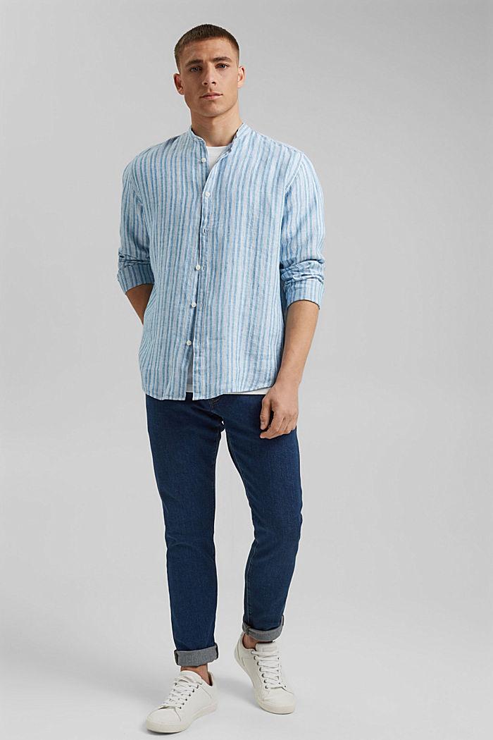 In lino: camicia a righe con collo a listino, PETROL BLUE, detail image number 1