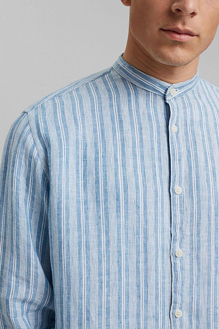 In lino: camicia a righe con collo a listino, PETROL BLUE, detail image number 2