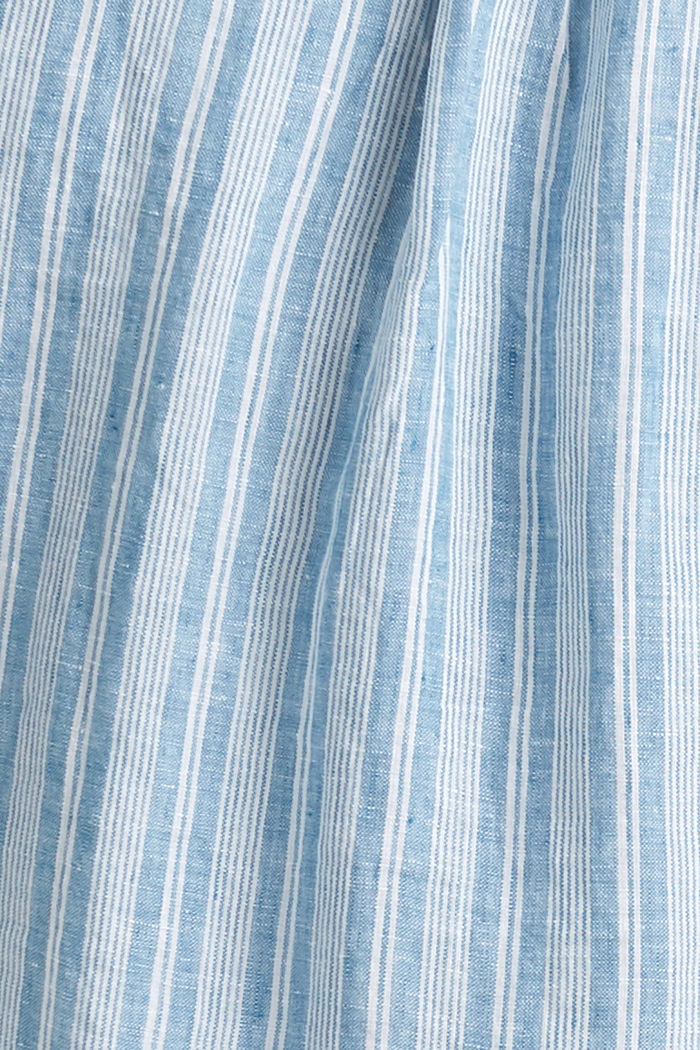 In lino: camicia a righe con collo a listino, PETROL BLUE, detail image number 4