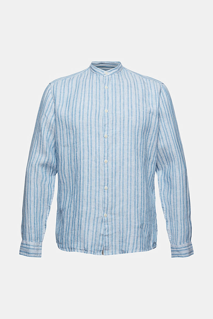 Made of linen: striped shirt with a stand-up collar