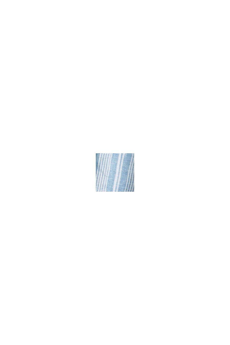 Van linnen: gestreept overhemd met opstaande kraag, PETROL BLUE, swatch