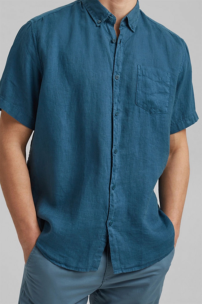 #ReimagineNaturalLifestyle: Shirt made of linen, TEAL BLUE, detail image number 5
