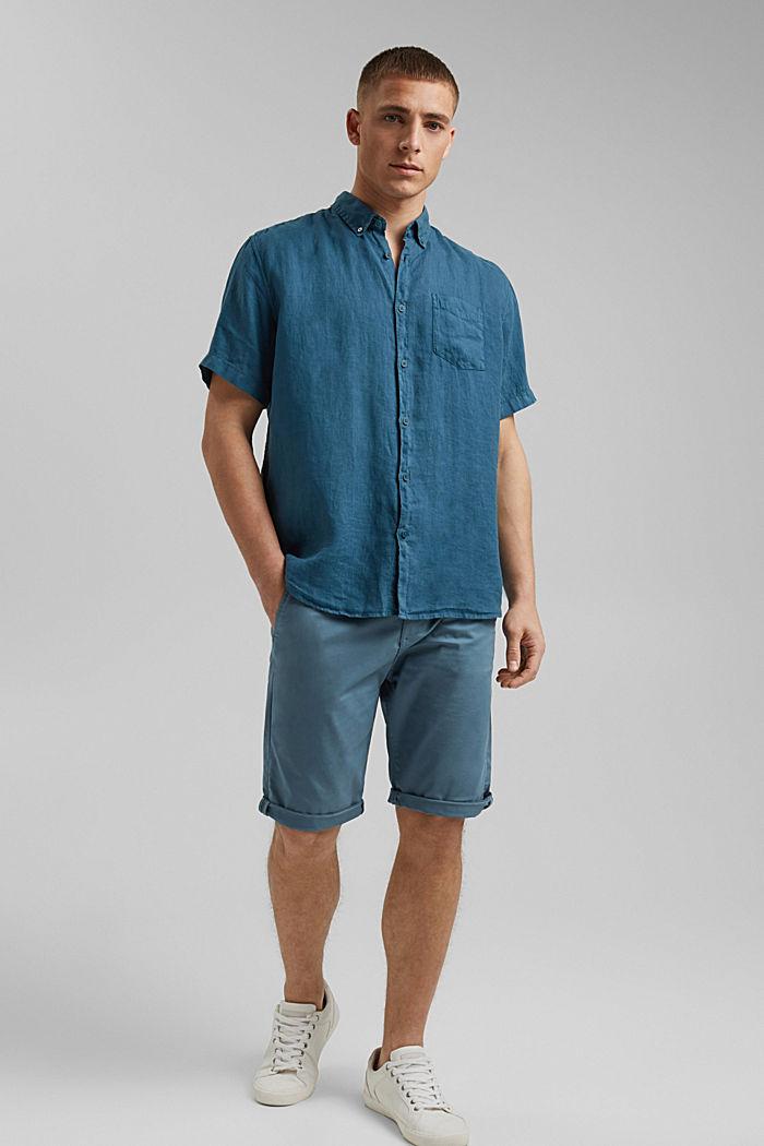 #ReimagineNaturalLifestyle: Shirt made of linen, TEAL BLUE, detail image number 1